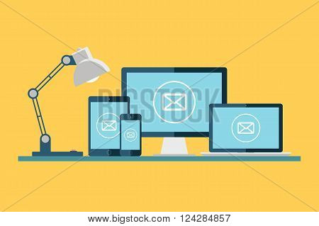 Email icon. Desktop computer, laptop, tablet and smartphone with email icon on the screen. Vector illustration.