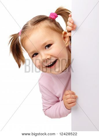 Cute Little Girl With Blank Board