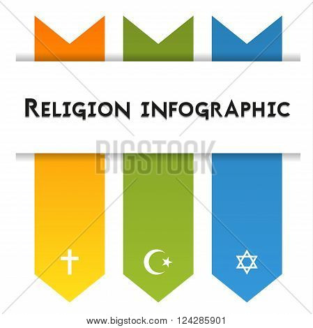 Infographic template for 3 religions - christianity islam and judaism isolated on white