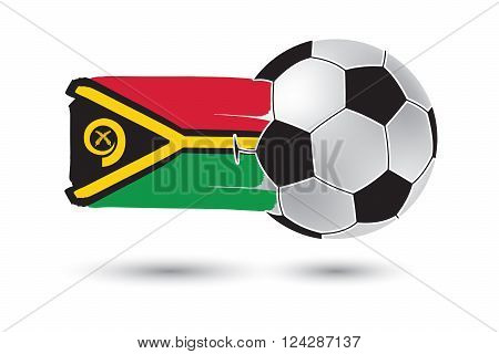 Soccer ball and Vanuatu Flag with colored hand drawn lines