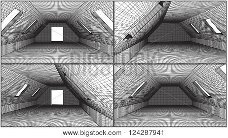 Empty Loft Interior Construction Perspective Structure Vector