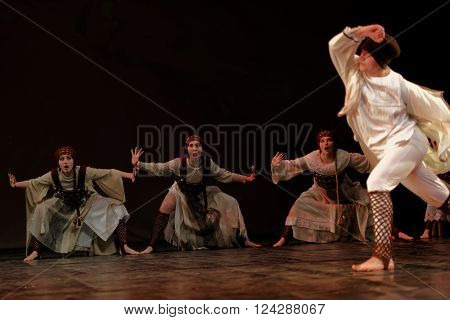 ST. PETERSBURG, RUSSIA - MARCH 28, 2016: Young dancers perform at the opening ceremony of International Festival of Choreographic Art Pari Grand. Artists from 9 countries participated in the festival