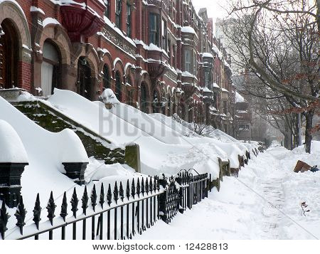 Apartment buildings after snowstorm