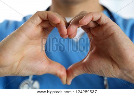 Hands Of Male Medicine Therapeutist Doctor Wearing Blue Uniform