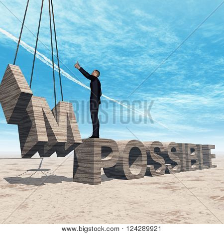 3D illustration concept conceptual 3D illustration of business man standing over abstract stone impossible text on sky background