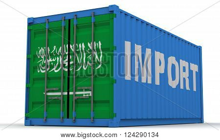 Imports of Saudi Arabia. Freight container on a white surface with inscription