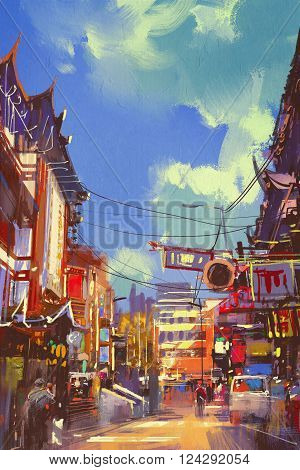 illustration painting of shopping street with ancient buildings