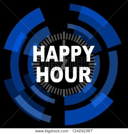 happy hour black background simple web icon