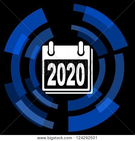 new year 2020 black background simple web icon