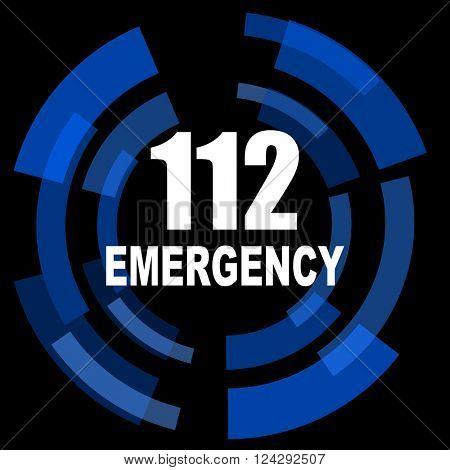 number emergency 112 black background simple web icon