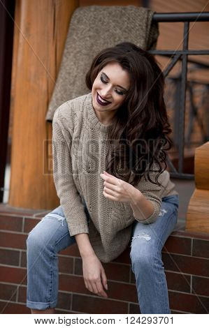 Spring In The Country Style. Full Length Portrait Of Young Woman Smiling In Gray Knitted Sweater And