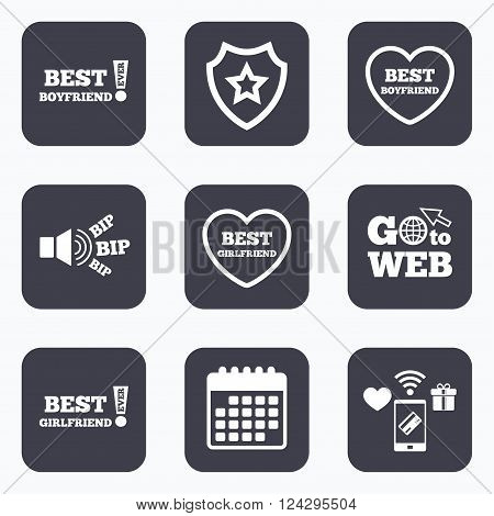 Mobile payments, wifi and calendar icons. Best boyfriend and girlfriend icons. Heart love signs. Awards with exclamation symbol. Go to web symbol.