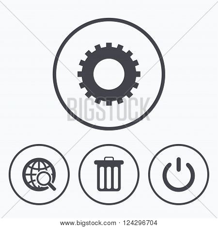 Globe magnifier glass and cogwheel gear icons. Recycle bin delete and power sign symbols. Icons in circles.