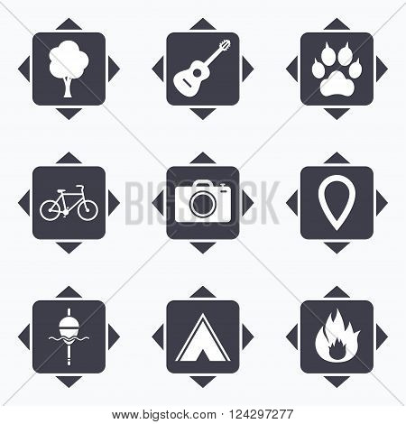 Icons with direction arrows. Tourism, camping icons. Fishing, fire and bike signs. Guitar music, photo camera and paw with clutches. Square buttons.