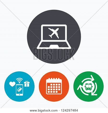 Online check-in sign. Airplane symbol. Travel Flight tickets label. Mobile payments, calendar and wifi icons. Bus shuttle.