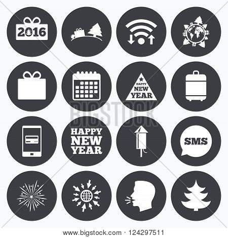 Wifi, calendar and mobile payments. Christmas, new year icons. Gift box, fireworks signs. Santa bag, salut and rocket symbols. Sms speech bubble, go to web symbols.