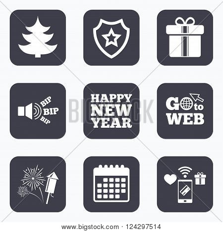 Mobile payments, wifi and calendar icons. Happy new year icon. Christmas tree and gift box signs. Fireworks rocket symbol. Go to web symbol.