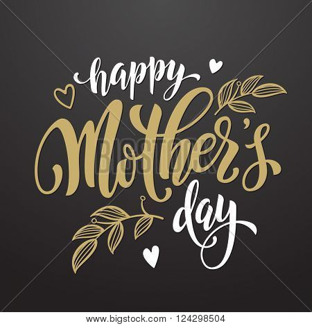 Mothers Day vector greeting card. Hand drawn gold calligraphy lettering title with heart pattern. Black background.