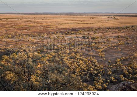 Australian outback in drought conditions, dry and dusty