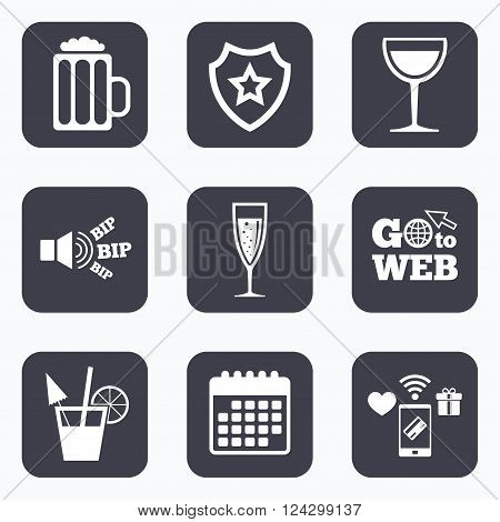 Mobile payments, wifi and calendar icons. Alcoholic drinks icons. Champagne sparkling wine with bubbles and beer symbols. Wine glass and cocktail signs. Go to web symbol.