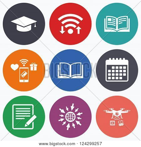 Wifi, mobile payments and drones icons. Pencil with document and open book icons. Graduation cap symbol. Higher education learn signs. Calendar symbol.
