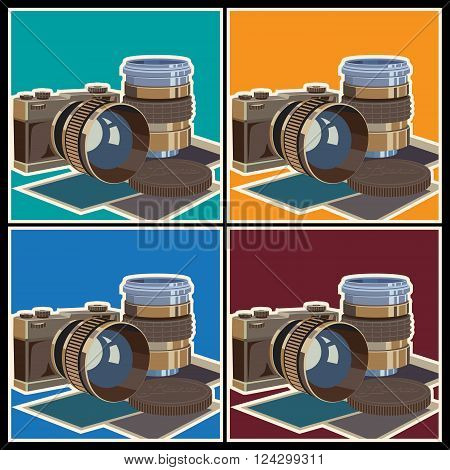 Stylized vector illustration on the theme of photography and photographic equipment. The camera and lenses