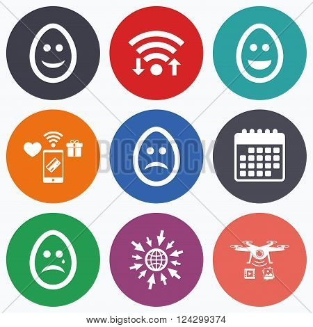 Wifi, mobile payments and drones icons. Eggs happy and sad faces icons. Crying smiley with tear symbols. Tradition Easter Pasch signs. Calendar symbol.