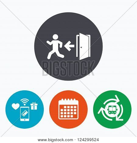 Emergency exit with human figure sign icon. Door with left arrow symbol. Fire exit. Mobile payments, calendar and wifi icons. Bus shuttle.