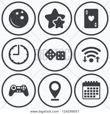 Clock, wifi and stars icons. Bowling and Casino icons. Video game joystick and playing card with dice symbols. Entertainment signs. Calendar symbol.