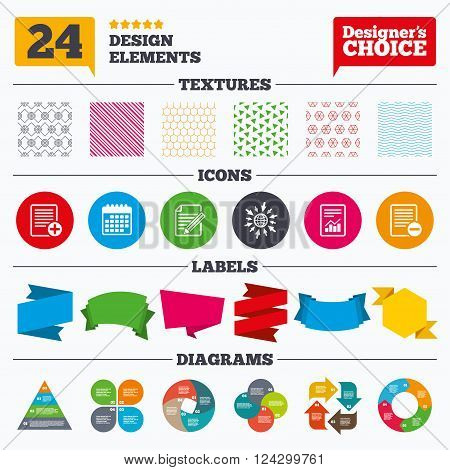 Banner tags, stickers and chart graph. File document icons. Document with chart or graph symbol. Edit content with pencil sign. Add file. Linear patterns and textures.