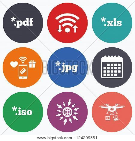 Wifi, mobile payments and drones icons. Document icons. File extensions symbols. PDF, XLS, JPG and ISO virtual drive signs. Calendar symbol.
