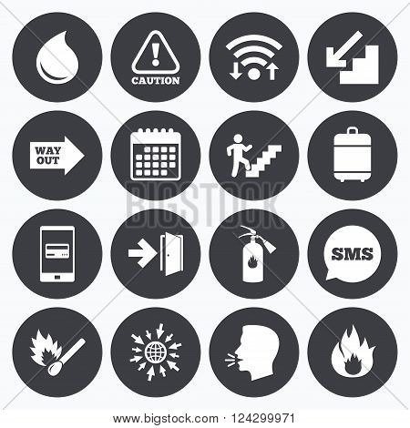 Wifi, calendar and mobile payments. Fire safety, emergency icons. Fire extinguisher, exit and attention signs. Caution, water drop and way out symbols. Sms speech bubble, go to web symbols.