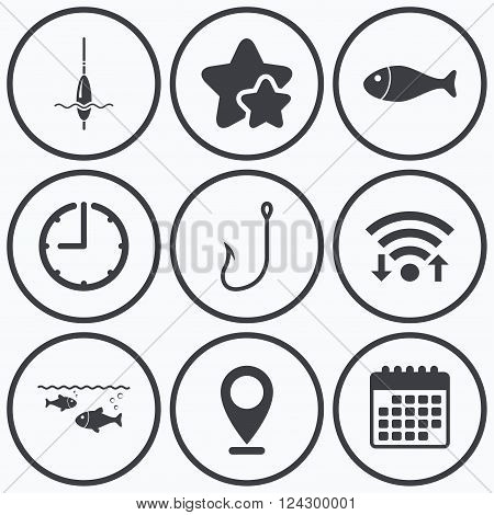Clock, wifi and stars icons. Fishing icons. Fish with fishermen hook sign. Float bobber symbol. Calendar symbol.