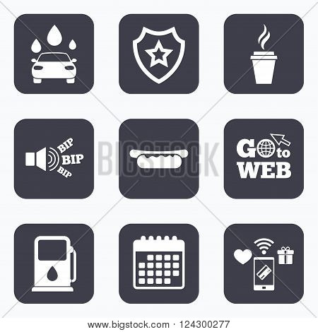 Mobile payments, wifi and calendar icons. Petrol or Gas station services icons. Automated car wash signs. Hotdog sandwich and hot coffee cup symbols. Go to web symbol.