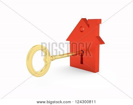 Home Model with Golden key Model - 3D Rendered Image