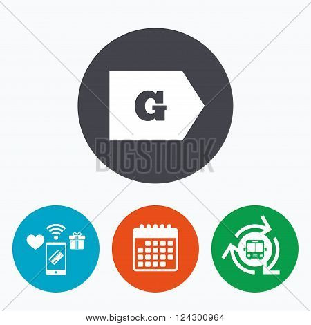 Energy efficiency class G sign icon. Energy consumption symbol. Mobile payments, calendar and wifi icons. Bus shuttle.