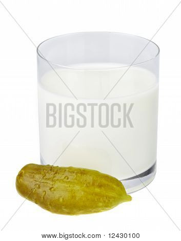 Incompatible Eating Products Milk And Salted Cucumber