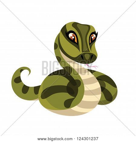 Snake isolated on white background. Anaconda in cartoon style. Vector illustration.