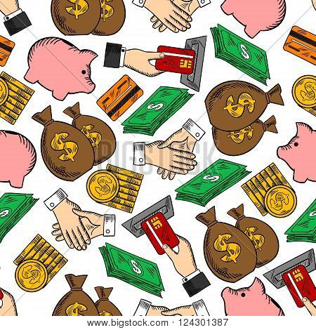 Business and finance seamless pattern with dollar bills and piles of gold coins, handshakes and moneybags, credit cards with ATM and piggy banks. Banking, currency, business themes