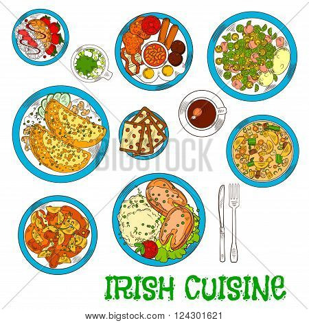 Irish cuisine dishes served with vegetable lamb stew and potato pancakes boxty with sauce, potato stew coddle with sausages and mashed potato with fish, raisin bread and meringue dessert with strawberries, green beer and coffee cup