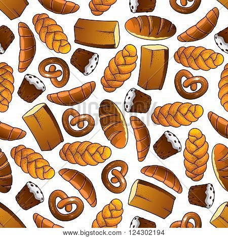Appetizing bakery and pastry seamless pattern of golden long loaves and whole grain bread, glazed cupcakes with raisins, french croissants, salted pretzels and sweet buns with poppy seeds. Cafe and bakery shop themes