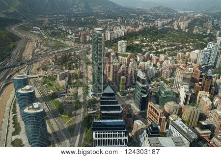 Santiago de Chile Chile - November 15 2015: Santiago de Chile aerial view from Sky Costanera Santiago Chile. Sky Costanera the highest building in Latin America designed by Cesar Pelli.
