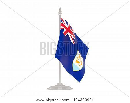 Flag Of Anguilla With Flagpole. 3D Render