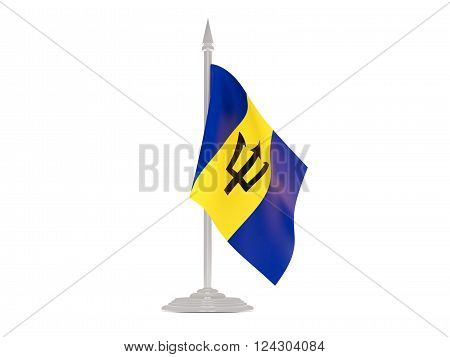 Flag Of Barbados With Flagpole. 3D Render