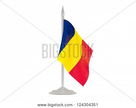 Flag Of Chad With Flagpole. 3D Render