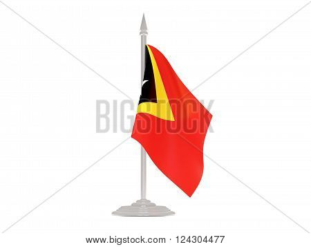 Flag Of East Timor With Flagpole. 3D Render