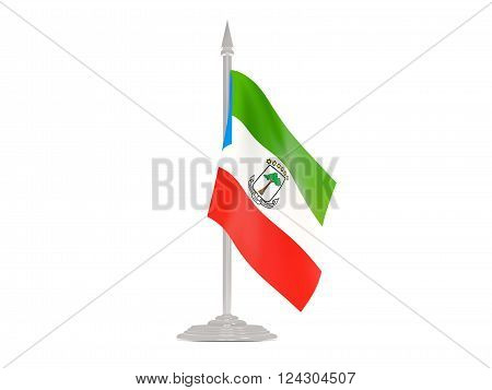 Flag Of Equatorial Guinea With Flagpole. 3D Render