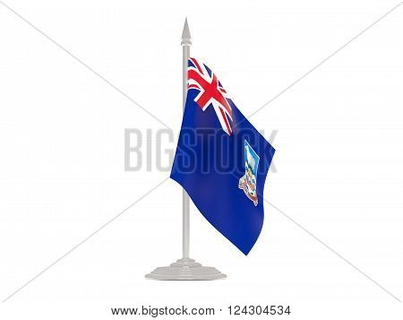 Flag Of Falkland Islands With Flagpole. 3D Render