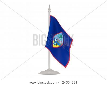 Flag Of Guam With Flagpole. 3D Render