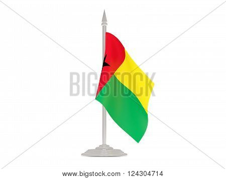 Flag Of Guinea Bissau With Flagpole. 3D Render